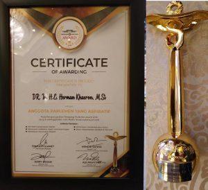 Herman Khaeron Raih Penghargaan Anggota Parlemen Yang Aspiratif pada Teropong Parlemen Award 2019